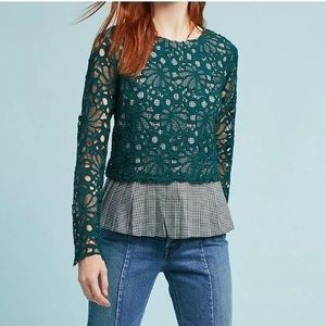 Maeve Gingham Green Floral Lace Blouse